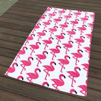 China Pink Crane White Pool Beach Towels Non - Fade Water Based Prints For Picnic Cover wholesale