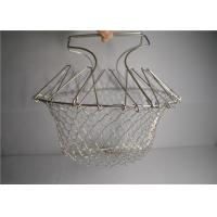 China Woven Stainless Steel Wire Basket , Heat Resistance Mesh Fryer Basket wholesale