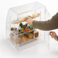 Quality Acrylic Food Display Case Irregular 300pcs with 3 Plastic Trays Curved Front for sale
