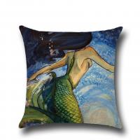China Ocean Theme Throw Pillow Case Mediterranean Style Cotton Linen Mermaid Square Cushion Covers Nautical Pillow Covers wholesale