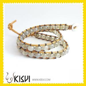 China Fashion ChanLuu Style Leather crystal Bangle Bracelet with Colorful beads wholesale