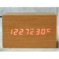 China Digital Jumbo LED Wood Clock Vintage Table Wooden Alarm Clock wholesale