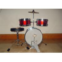 Quality 3 Piece Junior Red Acoustic Kids Drum Set Middle Size With Cymbal / Throne MU for sale