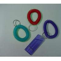 China Plastic Wrist Key Coil w/Whistle as Security Promotional Gift wholesale