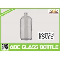China 8oz Boston Round Glass Bottle With Screw Cap Clear Color wholesale