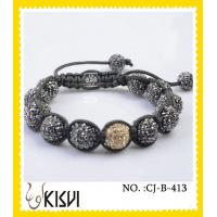 China Elegant & unique fashion design grey adjustable crystal beads bracelet wholesale