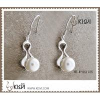 China 925 fashion large sterling silver hoop gemstone earrings immitation pearl W-AS1125 wholesale