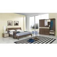 China Walnut wood home bedroom furniture sets by curved headboard bed and full mirror stand wholesale