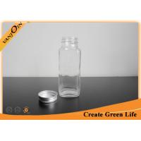 China Screw Aluninum Cap 8oz Clear Glass Bottles for Milk , Eco-friendly Reusable Glass Containers wholesale
