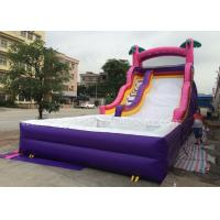 0.55mm Pvc Purple Inflatable Bouncer Slide With Pool For Kids 6x3x3m