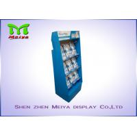 Buy cheap UV coating blue color custom cardboard displays rack with plastic hooks for Mani Pedi product