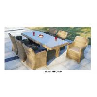 China Imitated bamboo dining table and chairs with glass on the table on sale