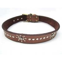 China Indian leather dog collar with PU material 2 colors wholesale