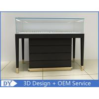 Buy cheap Wooden In Black Lacquer Jewelry Store Display Cases With Strong Glass from wholesalers