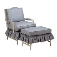 China Cushion Fabric Sofa Skirt Upholstered Chair With Ottoman , Modern Chair And Ottoman wholesale