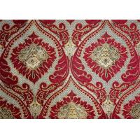 China Polyester Red Chenille Jacquard Fabric 330GSM Flower Pattern wholesale