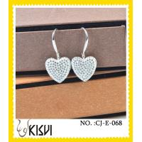 China 2012 charming silver heart shape handcrafted crystal jewelry earings wholesale