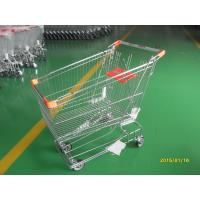 China Retail Store Steel Wheeled Shopping Cart 180 L Basket Bottom Rack wholesale