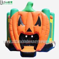 China Halloween Inflatables Giant Pumpkin Kids Bounce House Double / Quadruple Stitching wholesale