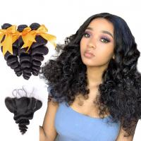 China 18 Inch Loose Wave Malaysian Hair Extensions / Virgin Hair Bundles With Lace Frontal wholesale