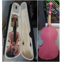 China Pink Solid Basswood Junior Electric Violins Ebony Parts With Case And Bow Promotion wholesale