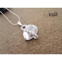 China Fashion design sterling silver gemstone pendant with white and shiny zircon W-VB961 wholesale