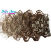China Light Brown / Blonde Free Tangle Clip In Virgin Hair Extensions 12 Inch wholesale