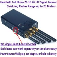 Quality 4 Antenna Handheld Cell Phone 2G 3G 4G LTE Signal Jammer Blocker W/ Single for sale