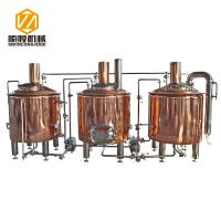 China Red Copper Beer Brewing Equipment , 500L Brewpub Beer Making Equipment wholesale