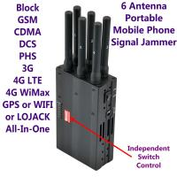 Quality 6 Antenna High Power Portable Cell Phone Signal Jammer GSM 3G 4G LTE WIMAX GPS for sale