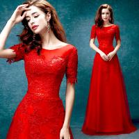China Red Elegant Evening Dresses O Neck Short Sleeves Host Dress TSJY031 wholesale