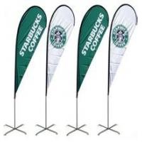 China Custom Double Side Printed Beach Flag Feather Teardrop Flying Banner Lightweight wholesale