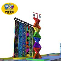 Outdoor Park Kids Rock Climbing Wall Plastic Fiberglas Wood Material Anti - UV
