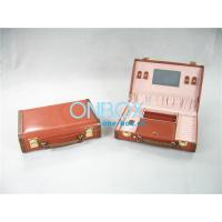 China Handicraft Luxury Cosmetic Box /  Multi Color Leather Makeup Case With Mirror wholesale