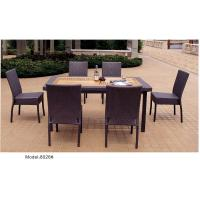 China 7-piece synthetic rattan wicker outdoor patio teak top garden dining table 6 armlesschairs-8026 wholesale