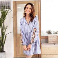 China Fashion V Neck Embroidery Female Casual Dresses / Striped Long Sleeve Casual Dresses For Women on sale