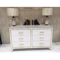 China White High Gloss Hotel Room Dresser 6 Drawers With Metal Strip , PU Lacquer Paint wholesale