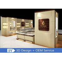 China Custom Wooden Glass Jewellery Display Cabinets Cream - Colored For Retail Shop wholesale