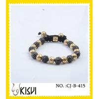China Rhodium / gold / rose gold plated crystal beaded bracelets with shiny beads wholesale
