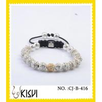 Buy cheap High quality guarantee white and gold 10mm crystal beaded bracelets from wholesalers
