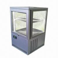China 4-sided glass display cooler, gray powder-coated exterior, adjustable powder-coated wire shelves wholesale