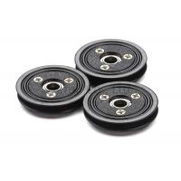 China Flanged Ceramic Cable Pulley Wheels Black Color With Bearing , Plastic Body wholesale