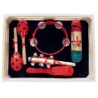 China 5 Pcs Simple Percussion Kids Musical Instrument Kawai Wood Toy Outfit with Wooden Box wholesale