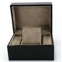 China Piano Paint Matte MDF Wooden Jewelry Box Grey Interior With Removable Cushions wholesale