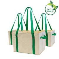 China Heavy Duty Collapsible Recycle Shopping Bags With Fold Up Reinforced Bottom on sale