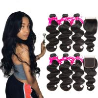 China Soft Cambodian Virgin Hair Body Wave 10A Double Weft Bundles With Top Lace Closure wholesale