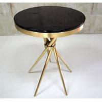 China Gold Plated Modern Coffee Table With Tempered Glass , Fully Assambled wholesale