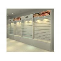 China MDF Glossy White Wall Mounted Display Cabinets Freestanding With Light Box wholesale