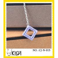 China A unique design made of CZ crystal & 925 silver square purple handmade crystal jewelry wholesale