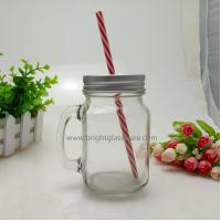 Buy cheap 16oz Glass Mason Jar With Handle and Metal Lid in Straws from wholesalers